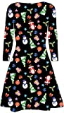 Womens Girls Santa Reindeer Wall Snowflake Ladies Costume Christmas Xmas Swing Dress Size 8-26