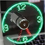 Eatech Mini USB Fan Gadgets Flexible Gooseneck LED Clock Cool For Laptop PC Notebook Time Display High Quality Durable Adjustable