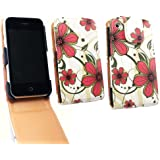 Emartbuy Apple iPhone 3G / 3GS Luxus PU-Leder Flip Case / Cover / Tasche rosa Hawaii-Blumen Und LCD Displayschutz