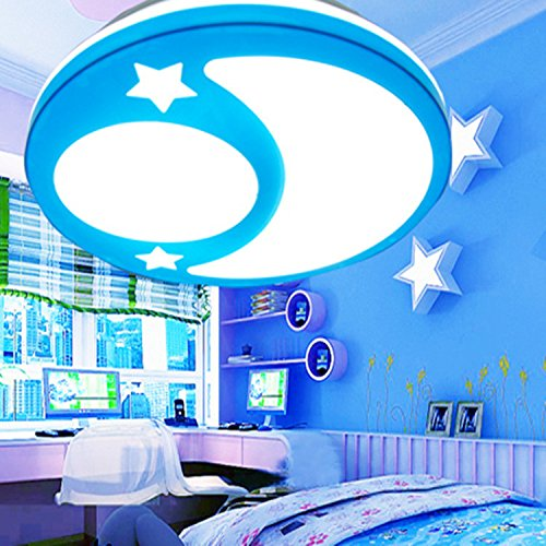 Sflash warmweiß Deckenleuchte Dechenlampe Kinderleuchte blau Mond Stern Design Schlafzimmer Lampe 12W LED für Kinderzimmer