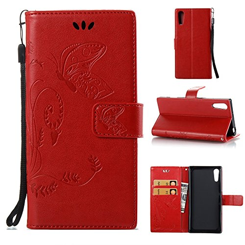 EKINHUI Case Cover Solid Color Faux Leder Bookstyle Brieftasche Stand Case mit geprägten Blumen & Lanyard & Card Slots für Sony Xperia XZ ( Color : Red ) Red