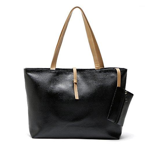Shuzhen,Strandtasche Handtaschen Hohe Qualität Top-Griff Taschen Frauen Tasche Damen Leder Schultertasche(color:SCHWARZ)