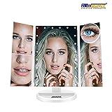 NEWSUMIT Tischspiegel mit Organizer - Kosmetikspiegel mit 24 LED - Touch Dimmer - Triptychon mit Vergrößerung 1X, 2X, 3X, 10X - Kosmetikspiegel - USB oder...
