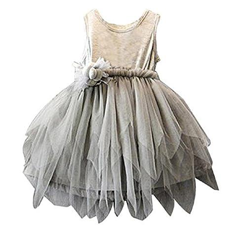 Saingace Blumen-Mädchen-Kind-Kleinkind -Baby-Prinzessin Party Festzug Hochzeit Tulle Tutu-Kleid(2-5 Jahre alt)