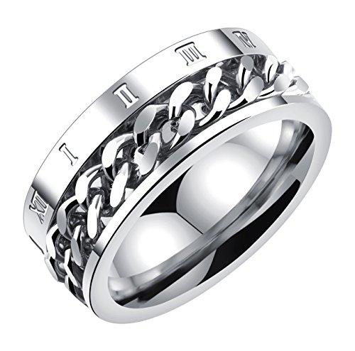 ALEXTINA Herren 8MM Edelstahl Spinner Kette Ring Römisch Nummer Band Silber Größe 65 (Der Angst-index)