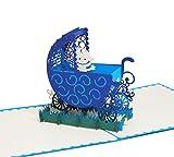 Kinderwagen (Blau) - Klappkarte / 3D Pop-Up Karte - Glückwunschkarte zur Geburt, Grußkarte mit Baby