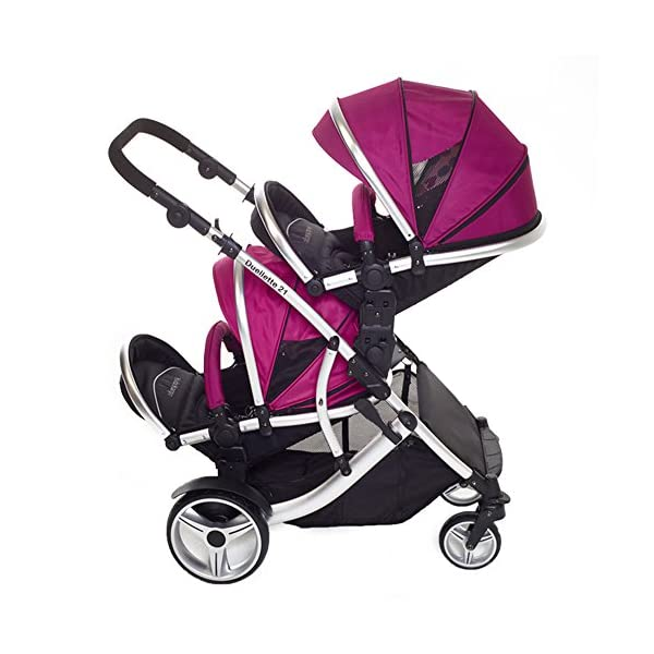 Duellette 21 BS Twin Double Pushchair Stroller Buggy (Raspberry) Brand New Colour Range! Kids Kargo Suitability Newborn Twins (if used with car seats) or Newborn/toddler. Various seat positions. Both seats can face mum (ideal for twins) Accommodates 1 or 2 car seats 2