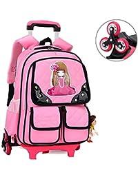 59ce5438e9 BAILIANG Student Trolley Schoolbag 3-6 Grado Scale da Arrampicata 6 Ruote  Rimovibili Zaino Impermeabile