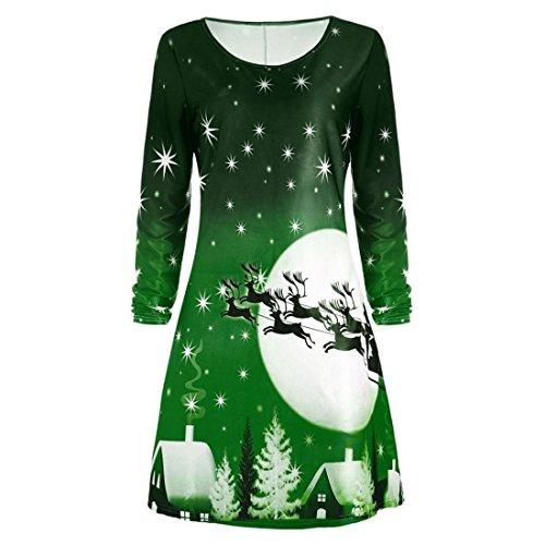 Weihnachtskleid Damen Btruely Mädchen Weihnachten Print Langarm Kleid Frauen Abendgesellschaft Knielangen Kleid Hirsch Weihnachtsbaum dekorative (S, Grün)