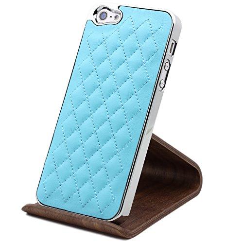 iPhone 5 / 5s / SE Coque, Urcover [Étui Rembourrage] Téléphone Housse Mirroir Bord Arrondis Case Blanc pour Apple iPhone 5 / 5s / SE Smartphone Bleu clair
