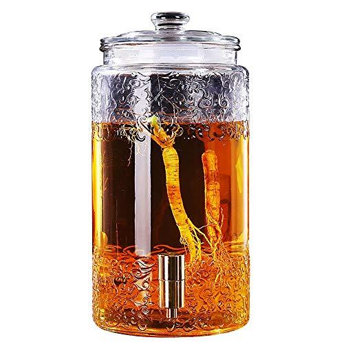QARYYQ Dispensador de Bebidas Jarro de Vino Mason Jar Dispensador de Bebidas de Vidrio con Grifo de Vidrio Cubierta 5L / 7.5L / 10L Dispensador de Bebidas (Color : 7.5L, Size : Copper Spigot)