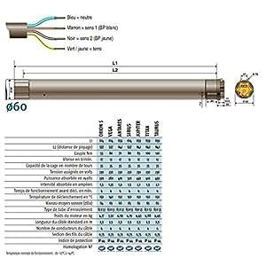 SOMFY - Moteur 230V/50Hz LT60 SIRIUS 80/12 + Câble 2,5m somfy - 1164021