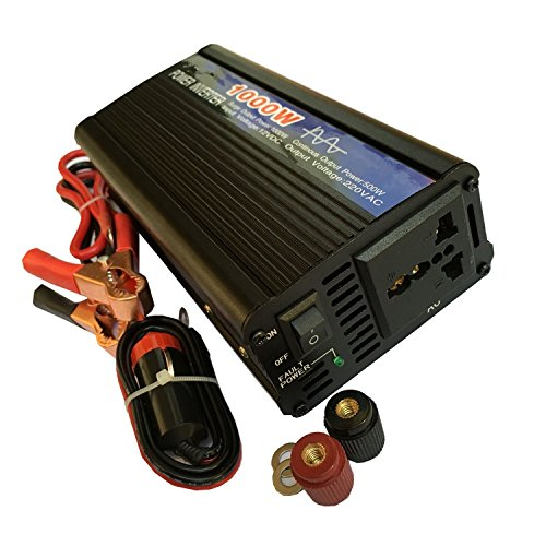 CAM2 KFZ REINER SINUS Wechselrichter 500W 12v 230v mit REINER SINUS Spannungswandler 12V auf 230V Fit für EU- und UK-Stecker 1000W Peak Zigarettenanzünder Stecker