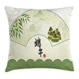 WCMBY Green Oriental Throw Pillow Cushion Cover, Chinese Dragon Boat Festival with Abstract Rice Dumpling Bamboo Background, Decorative Square Accent Pillow Case, 18 X 18 inches, Multicolor