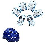 LOLIVEVE Set di Protezione per Casco da Bicicletta per Bambini Roller Roller Skating Roller Skating And Skating Protector Suit Blu Confortevole E Traspirante