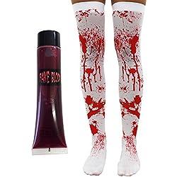 Color blanco con manchas de sangre medias con libre tubo de sangre Halloween Accesorio para disfraz para mujer Sangriento Hold Up medias ideal para Zombie, Sexy disfraz de colegiala
