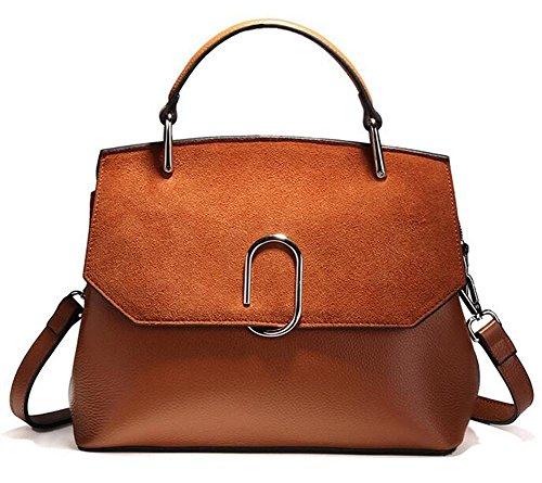 CHAOYANG-Female borsa a tracolla minimalista grande borsa della borsa opaco femminile di alta capacità borsa in pelle di vacchetta , black Brown