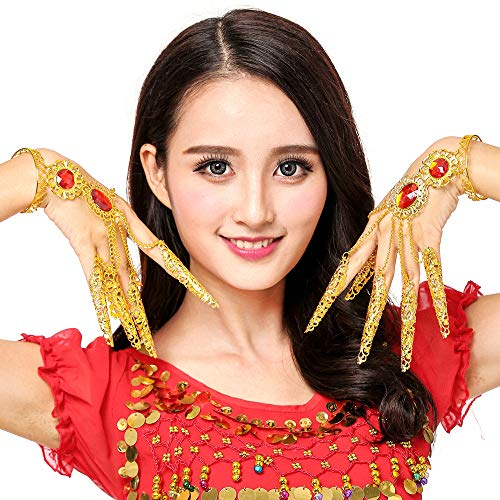Grouptap Asiatische thailändische Tanzfingernagelklauen für scharfes Goldmetallhandschmucksachen-Fingernagelhandgelenk cosplay Kostümsatz (Gold) (Asiatische Indische Prinzessin Kostüm)