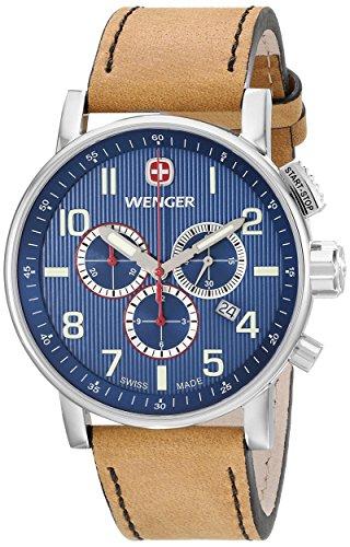 Wenger 011243101 - Reloj de pulsera hombre, piel, color marrón