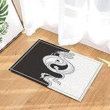 Asiaten Decor Durchführung, Oriental Dragon zwei Kugeln Formgebung der Yin-Yang Symbol BAD Teppiche, rutschfeste Fußmatte Boden Eingänge Innen vorne Fußmatte, Kinder Badteppich, 39,9x 59,9cm, Badezimmer Zubehör