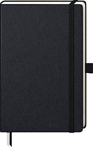 Brunnen 105522805 Notizbuch Kompagnon Klassik (Hardcover, 12,5 x 19,5 cm, kariert, 192 Seiten) 1 Stück, schwarz