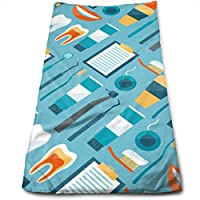 ewtretr Toallas De Mano, Cute Dentist Dental Hygienist Print Blue Microfiber Beach Towel Large &