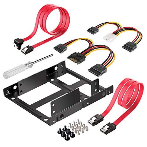 """Inateck Einbaurahmen für 2,5"""" HDD/SSD, 2,5"""" auf 3,5"""" interner Dual Festplattenrahmen, unterstützt 1 oder 2 SSD/s, inkl. Montagezubehör und SATA 3 Kabel"""