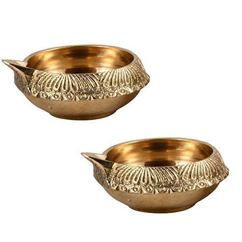 Hashcart (Set of 2) Handmade Indian Puja Brass Oil Lamp - Diya Lamp Engraved Design Dia - 2.5 inch