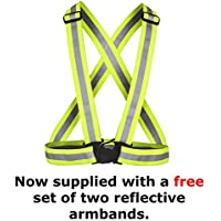 time to run High Visibility Reflective Running & Cycling Safety Belt-Fully Adjustable-Ideal For Runners, Cyclists, Motorcyclists, Horseriders and Walkers With Free Reflective Armbands