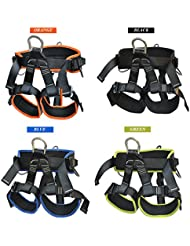 Professional Climbing Harness Rappelling Kit Outdoor Caving Upgraded Leg-Fastening Adjuster Comfortable Waistband Padding Green