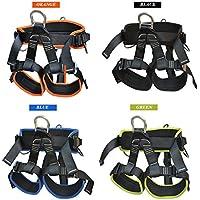 Profesional Rappelling Kit al aire libre arnés para escalada espeleología Upgraded leg-fastening Ajustador Cintura Cómoda acolchado negro