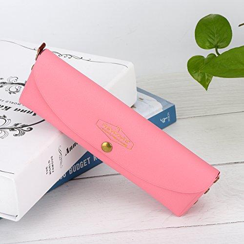Accering Federmäppchen Pencil Case, Kugelschreiber Tasche Pens Etui, Echt Leder Kosmetiktasche Tasche mit Knopfverschluss für Schreibwaren, Kunst-Utensilien, mehr, in einer Geschenkbox verpackt, Rosa