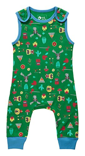 Piccalilly Organic Cotton Green Patterned Baby Boys Hawkshead Print Dungarees