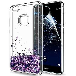 LeYi Coque Huawei P10 Lite Etui avec Film de Protection écran, Fille Personnalisé Liquide Paillette Transparente 3D Silicone Gel TPU Antichoc Kawaii Housse pour Huawei P10 Lite Violet