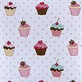 Homescapes Tela de 100% Algodón con Estampado de Cupcakes