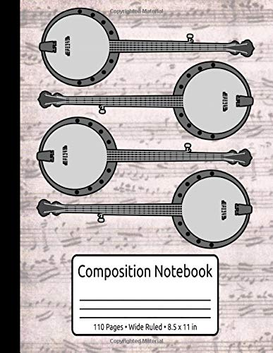 Retro Banjo Gifts Women Men Country Music Vintage Bluegrass Composition Notebook 110 Pages Wide Ruled 8.5 x 11 in: Banjo Music Book