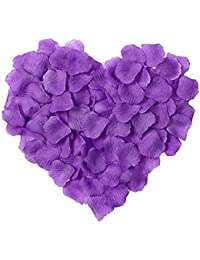 Lote de 10 pétalos de rosas artificiales de seda para múltiples usos, color púrpura,