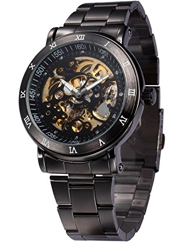 EASTPOLE Analog Herren Schwarze Automatik Mechanik Uhr mit Armband aus Edelstahl + EASTPOLE Geschenkbox PMW210