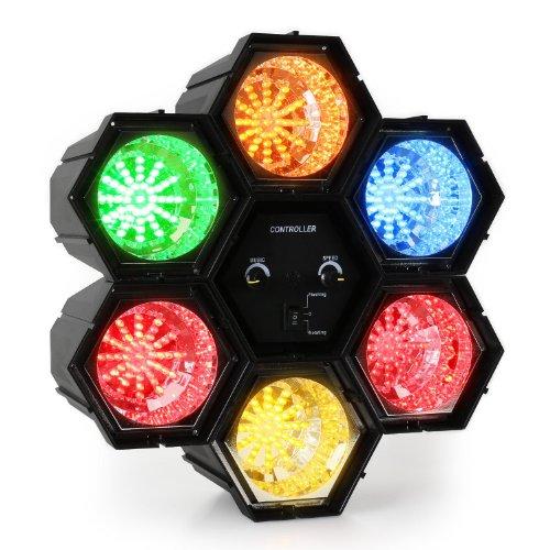 oneConcept Disco Hexagon 6er Discolicht LED-Lichteffekt mit Motor (36 x RGBY LEDS, Musiksteuerung über Mikrofon, Blitz- oder Rotationsmodus,...