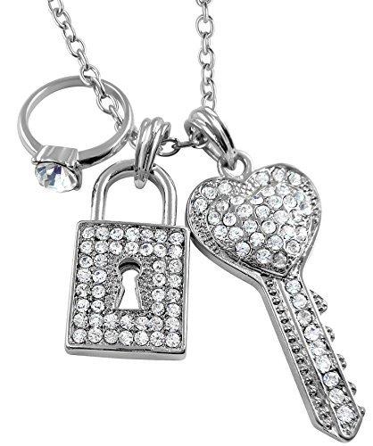 Glamour Girl Gifts Silber Ton Juicy Stil Kristall Schlüssel, Vorhängeschloss, Engagement Ring Charms Halskette für Jugendliche und Frauen