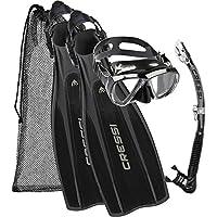 Cressi Pro Light + Big Eyes + Alpha Utra Dry Snorkel Set, Unisex Adulto, Negro, XS/S (37/39)