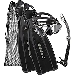 Cressi Unisex Pro Light Kit Pro Light Scuba Diving Heel Fins + Big Eyes Scuba Diving Mask and Alpha Ultra Dry Snorkel, Nero, Large/X-Large (9.5/10.5)