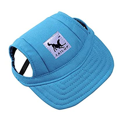 wuayi TAILUP Small Pet Casual Summer Canvas Cap Dog Baseball Visor Hat Puppy Outdoor Sunbonnet Cap (S, B) 1