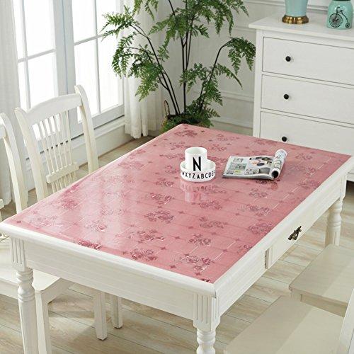 HM&DX PVC Kunststoff klar Tischdecken Wasserdicht Ölfreie Abwaschbar Tabelle cover tuch protektor Schreibunterlage Für küche kaffee esstische-Rosa 24*24in