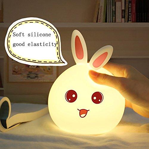 Nachtlicht Kinder Meng Kaninchen Silikon bunte Lichter Kaninchen Klaps Lichter USB wiederaufladbare LED Schlafzimmer Atmosphäre Ambiente...