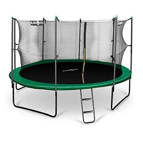 Klarfit Rocketstart 430 Trampolin Gartentrampolin (430 cm Durchmesser, Sicherheitsnetz, Abdeckbaube, bis max. 150 kg belastbar, Stangen Gepolstert, Schaumstoff Abdeckung) grün