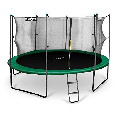 Klarfit Rocketboy 430 Tappeto Elastico trampolino da giardino (430 CM, Rete di Sicurezza, aste imbottite, scala, telo antipioggia) verde