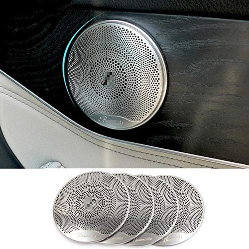 Decorazione di interni Copri altoparlante per porta auto di alluminio set di pezzi per Benz C E Classe W205 W213 GLC200 2015-2018