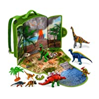 Gamenote Dinosaur Play Scene Backpack & 18 Dinosaur Figures Playset, Include Illustrated Book, Activity Dinosaur Play Mat, for Kids Boys and Girls 3 Years Old & Up