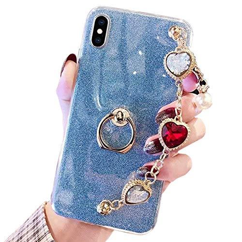 Obesky Glitzer Hülle für Huawei Honor 8X, Luxus 3D Bling Diamant Handschlaufe Halterung Design Weich TPU Silikon Bumper mit 360 Grad Ring Ständer Schutzhülle für Huawei Honor 8X, Blau Design-diamant Bling
